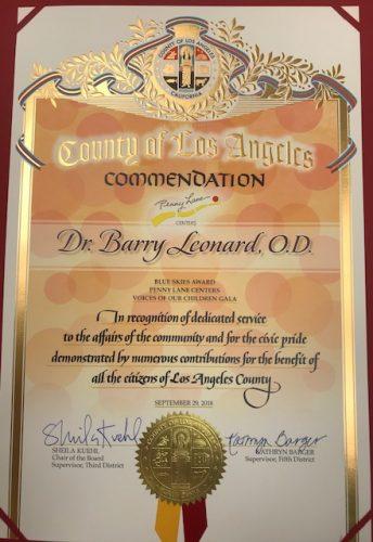 Blue Skies Award Dr. Leonard
